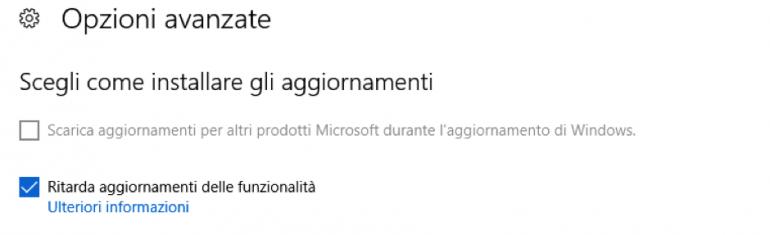 Opzioni Avanzate - Windows Update