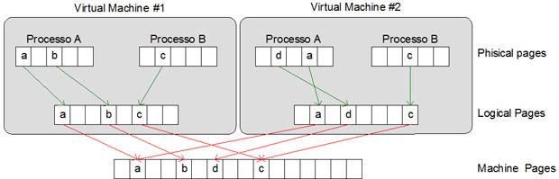 grafico della condivisione della pagine di memoria